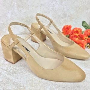 ZARA BASIC BEIGE VELVET SLINGBACK BLOCK HEEL SHOES